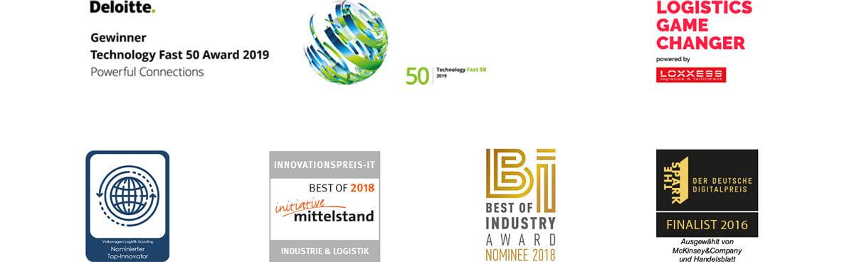 Bild zeigt Auszeichnungen, die das 3D Staplerleitsystem identpro® TRACK gewonnen hat