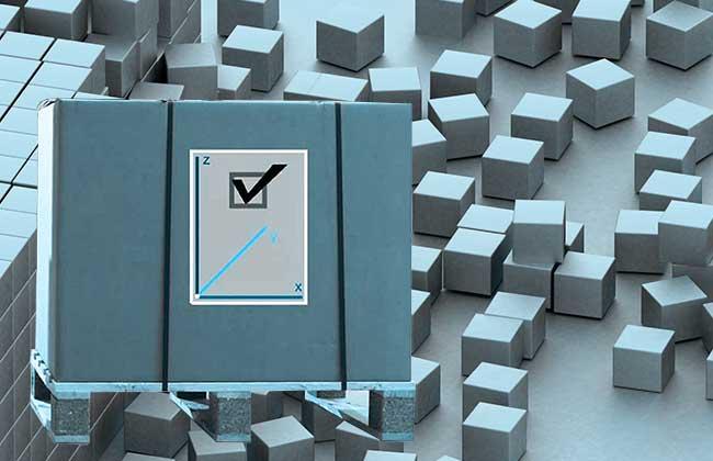 Bild abstrahiert Lager: Mit dem 3D Staplerleitsystem identpro® TRACK finden Sie jede Palette im Lager