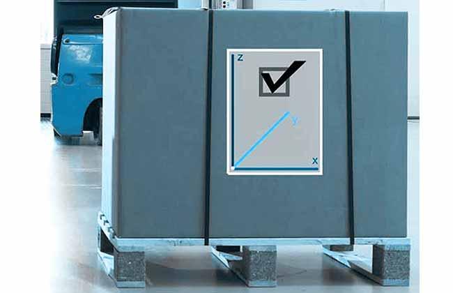 Bild zeigt Palette mit Koordinatengrafik – das 3D Staplerleitsystem identpro® TRACK identifiziert jede Palette über die Koordinaten ihres Stellplatzes, auch im Gang