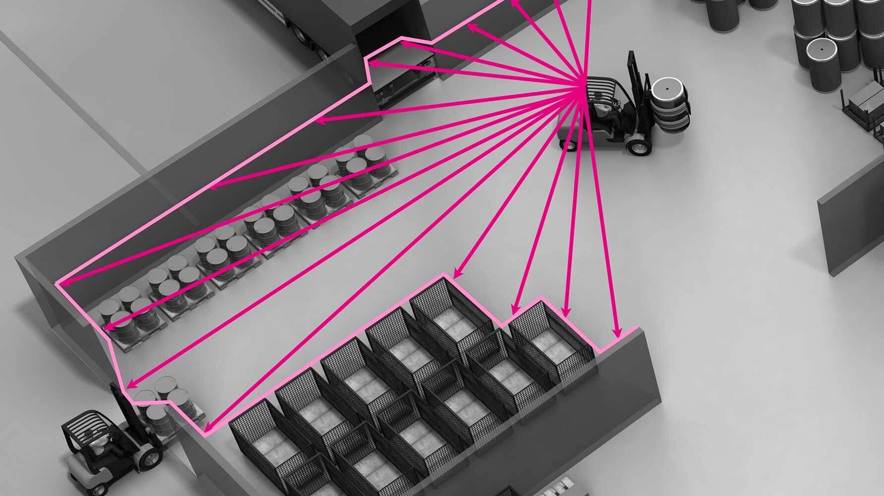 Bild zeigt grafische Darstellung der LIDAR-Lokalisierung (RTLS, Staplerortung) mit identpro® THERE
