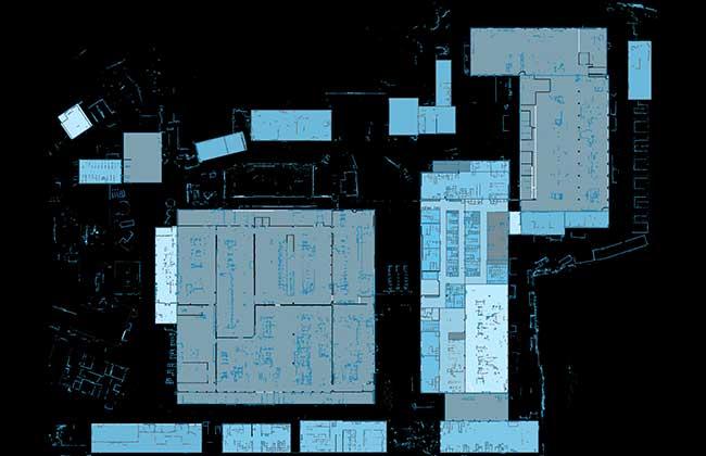 Bild zeigt die digitale Karte eines Firmengeländes aus Sicht des RTLS identpro® TRACK